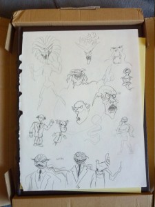 An original page from one of the sketchbooks